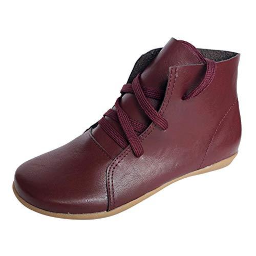 Yowablo Stiefel Kurzschaft Sneakers Lässige Retro-Leder Schnürung Leichtgewichtig Soft Bottom Flache Schuhe (38 EU,rot)