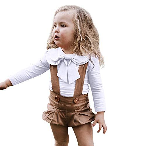 (JiaMeng Kleinkind Baby Mädchen Langarm Peter Pan Kragen Solide Bowknot Tops Kleidung)