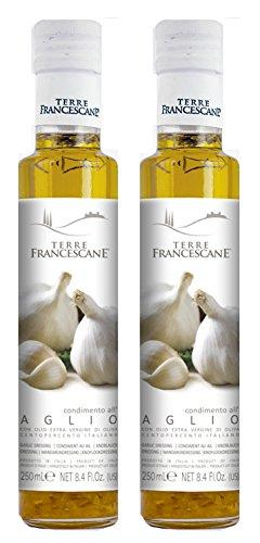 2er Pack Terre Francescane - Knoblauch-Öl - Extra Natives Olivenöl mit Knoblauch (2 x 250 ml)