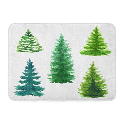 LIS HOME Badematte blau immergrüne Bäume Clip Weihnachten Tanne Natur Nadelbaum ländliche Landschaft Outdoor Pflanzen weiß grün Smaragd Badezimmer Dekor Teppich -