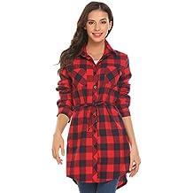 UNibelle Damen Hemd Langarmshirt Karohemd Hemdkleid Blusenkleid Kurz Kariertes  Hemden Oversize Mit Gürtel 964c46c3c6