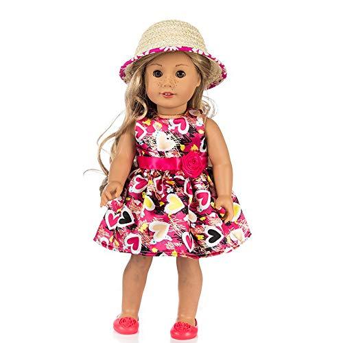 Puppenkleidung , YUYOUG Niedliche Bedruckte Kleid Party Rock + Hut für 18 Zoll unsere Generation American Girl Puppe Zubehör Mädchen Spielzeug Weihnachten Geburtstagsgeschenk (Hot Pink)