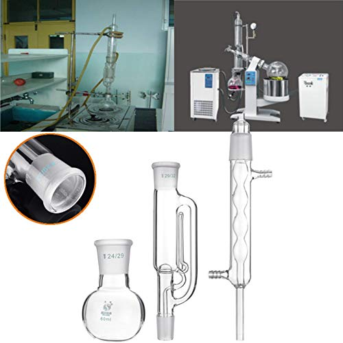 MYAMIA Laborglas Soxhlet Extractor Kondensator Set W/60Ml Flache Boden Flasche 225Mm Rohr (Geblasen Rohre Glas)