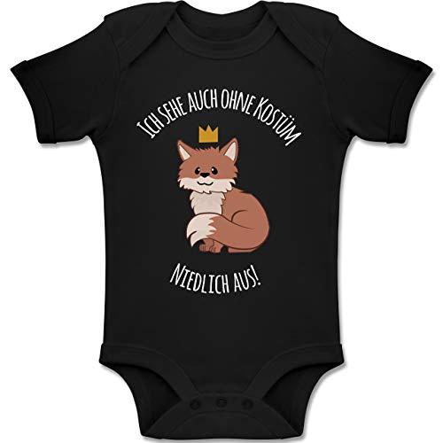 Shirtracer Karneval und Fasching Baby - Ich Sehe auch ohne Kostüm niedlich aus Fuchs - 18-24 Monate - Schwarz - BZ10 - Baby Body Kurzarm Jungen Mädchen (Niedlich Eltern Kind Kostüm)