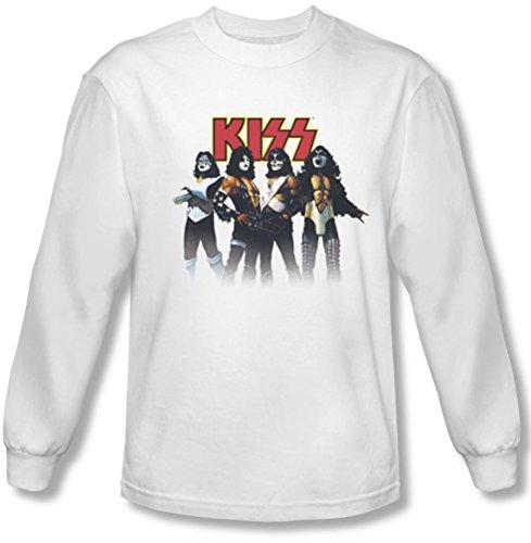 Kiss - Herren-Rückschritt-Haltung Longsleeve T-Shirt, XX-Large, White