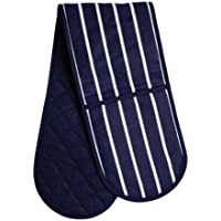 Premier Housewares Butcher Stripe Double Oven Glove - Navy