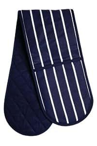 Premier Housewares Manique double 100 % coton (Rayures bleu marine)