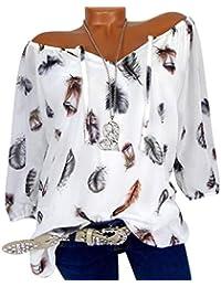 WWricotta Damen Chiffon Blusen Freizeit V-Ausschnitt Locker Hemd Vintage  Blusenshirt Feder Druck Lose… 0f30995c5c