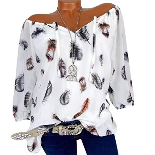 d74f77f77735c2 WWricotta Damen Chiffon Blusen Freizeit V-Ausschnitt Locker Hemd Vintage  Blusenshirt Feder Druck.