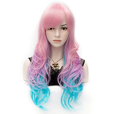 OOFAY JF® accattivante colorata rosa parrucca blu lunghi ondulati partito riccio - Colorata Tessuto Blu