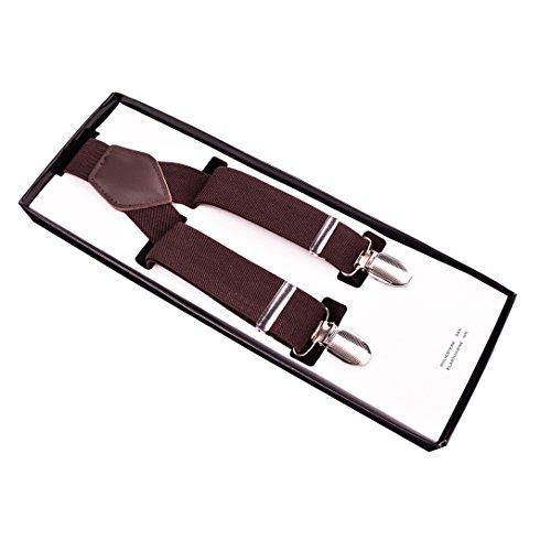 enjoymore style britannique rétro pour homme 3,5cm solide couleur bretelles avec 3clips Marron