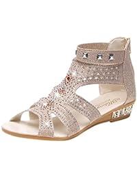 8bf5668ebaa27 OHQ Mesdames TêTe De Poisson Strass Creux Sandales Romaine Chaussures Or  Beige Noir Printemps ÉTé Femmes