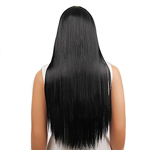 Parrucca di moda,parrucca sintetica naturale a bassa temperatura,linlink capelli lunghi lisci neri di qi liu hai posticci capelli veri extension coda capelli con elastico