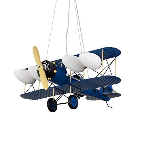 WSR Deckenleuchten, Kreative Flugzeuge Deckenbeleuchtung, Kinderzimmer Cartoon Pendelleuchten, Jungen Schlafzimmer Retro LED Kronleuchter,Blau,52W