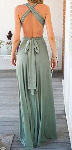 Femmes de Plage Party Soirée Swing Tunique Robes Été Sexy dos nu Longue Robe Épaules Nue Sans Manche Maxi Dress Vert clair
