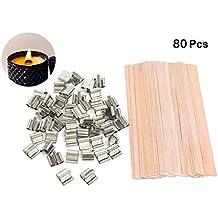 MARCHONE 80 piezas de mechas naturales de madera cortadas a mano para hacer velas y velas