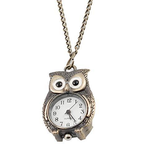 TOOGOO(R) Bronzeton Nacht-Eule Anhaenger Quarz Halskette Uhr fuer Damen
