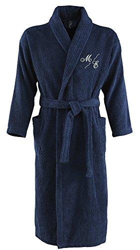 Bademantel aus 100% Baumwolle • Zwei aufgesetzte Seitentaschen • Passender Gürtel (Mona S/M Blau) (Baumwolle Monogramm-bademantel 100)