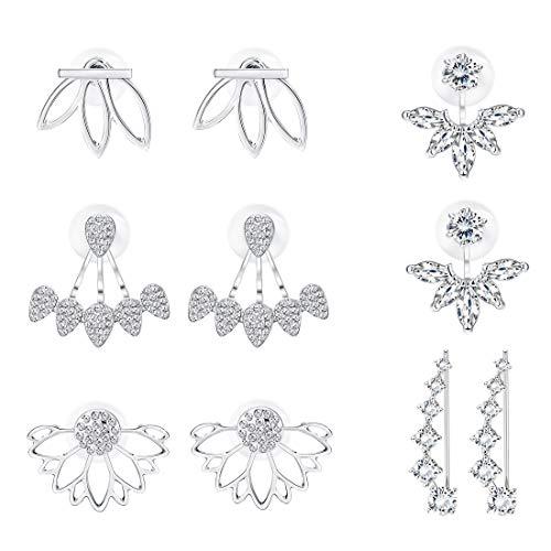 Milacolato 5 Paar hohlen Lotus Blume Ohr Jacken für Frauen Mädchen Ohrstecker einfache schicke Ohrringe
