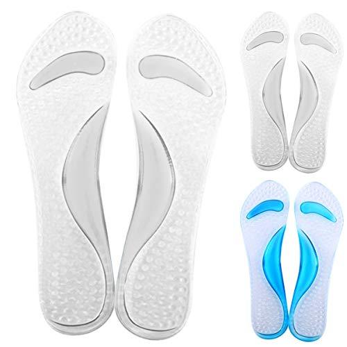 Jinxuny 1 Paar Gel Schuheinlagen Fersenpolster rutschfeste Unterstützung Arch Massage Einlegesohle Schuhpads für Frauen Dame Mädchen (Color : Transparent) -