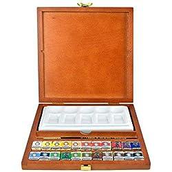 Caja de madera acuarela rembrandt 22 pastillas