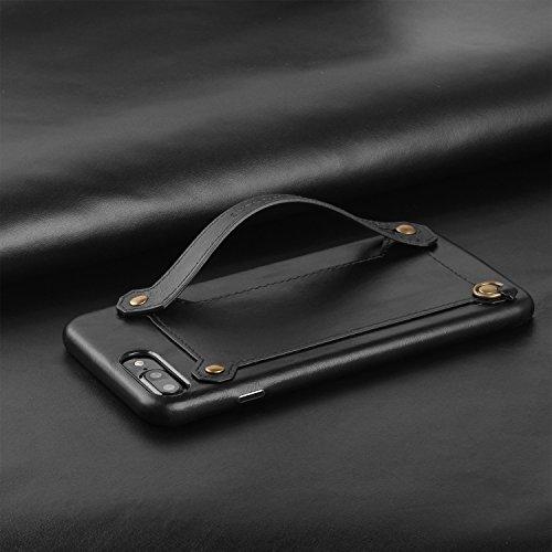 XGUO Custodia iPhone 7, Cover in Pelle Supporto Stand, Carta Fessura e Protettiva Wallet Case per iphone 7 - Marrone Nero