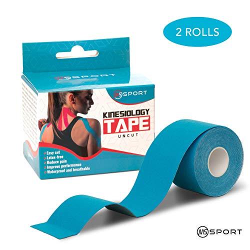 Qualität Kinesiologie Tape Set 2 Rollen 5m x 5cm - Kinesiotape Wasserfest und elastisch für Sport - Premium Ungeschnittenes Physio Tape - Sporttape - Starke Klebrigkeit - für Muskel- und Sportverletzungen - Blau