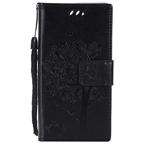 Chreey Huawei Mate 10 Pro Hülle, Prägung [Katze Baum] Muster PU Leder Hülle Flip Case Wallet Cover mit Kartenschlitz Handyhülle Etui Schutztasche [Schwarz]
