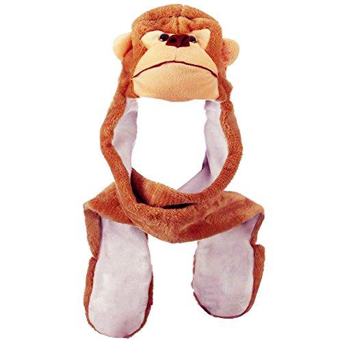 rbst Winter Warm Plüsch Tier Ohrenschützer Hüte Mützen Weihnachten Halloween Kostüm Geschenk Affe (Mädchen Affe Halloween Kostüme)