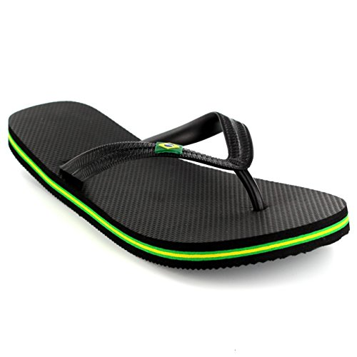 Mens Brazil Logo Beach Summer Brasil Holiday Sandals Flip Flops - Black...