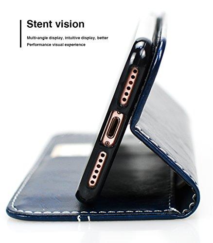 """Coque iPhone 8, SsHhUu [Peace Dove] Etui Portefeuille en Cuir PU Premium avec Fermeture Magnétique et Stand et Porte Cartes avec Stylet + Lanyard pour Apple iPhone 7 / iPhone 8 (4.7"""") Noir Bleu"""