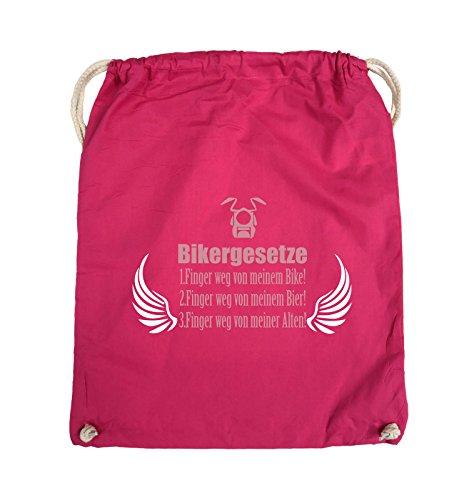 Flügel-mädchen-tee (Comedy Bags - BIKERGESETZE - FLÜGEL - Turnbeutel - 37x46cm - Farbe: Pink / Rosa-Weiss)