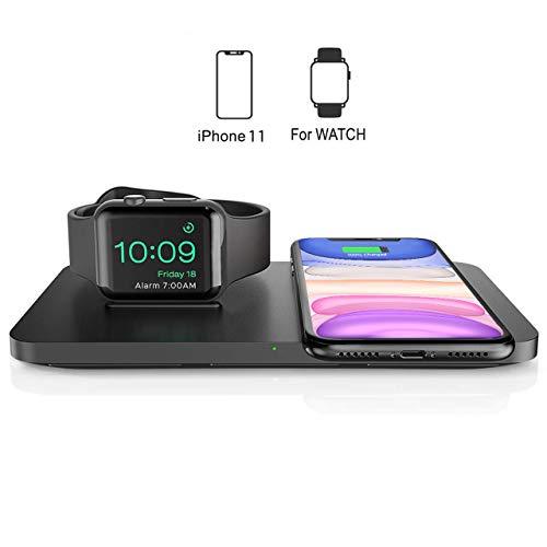Seneo Caricabatterie Wireless Doppio, Caricatore Wireless Qi 2 in 1 per iWatch Series 2/3/4/5 e AirPods 2, Ricarica Rapida Wireless da 7.5W per iPhone 11/Pro Max/XS/XR(Senza Adattatore e Cavo iWatch)