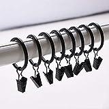 musuntas 30STK. 35mm de diámetro multiusos Clip Barra de cortina cortina anillos anillos de cortina con clips -- Negro