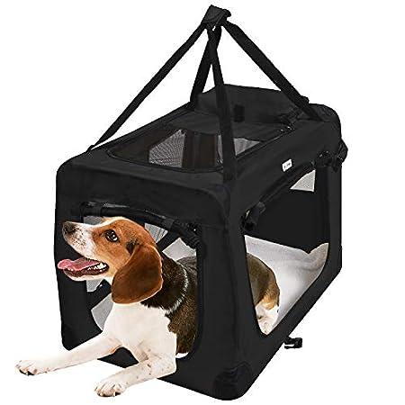 MC Star Hundebox Transportbox Faltbare Reisebox Katzen Hunde Auto Box Oxford Gewebe Schwarz M/L/XL