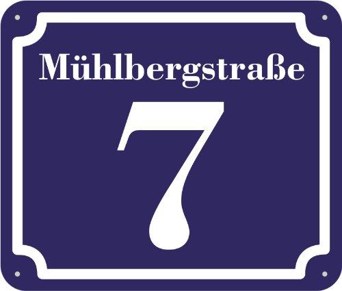 Hausnummer und Straße Schild 2mm Aluverbund, 20 x 17 cm individuell nach Ihren Wünschen Farbe blau