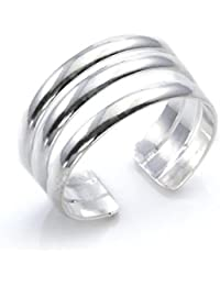 Silverly Women's .925 Sterling Silver Overlapping Plain Midi Finger Adjustable Band Toe Ring K9IOOZsob
