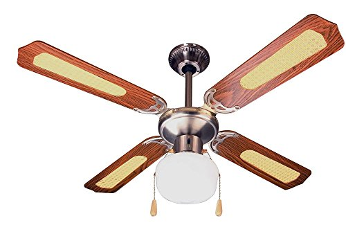 Zephir ZFS9107M Ventilatore da soffitto 4 pale in legno marrone con inserti in paglia di Vienna