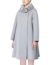 Zicac Damen Mantel Künstlicher Pelz Kragen Mantel Elegante Beiläufige Jacke Outwear für Winter und Herbst