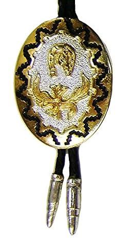Modestone Unisex Bolo With Horseshoe, Horse Head & Silver Bullets O/S Silver