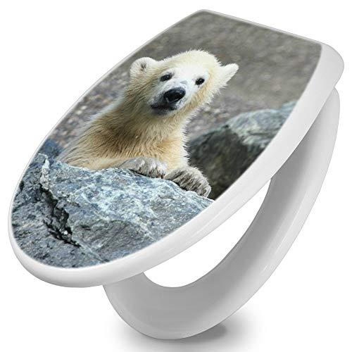 banjado Toilettendeckel mit Absenkautomatik | WC Sitz 42cm x 4cm x 37cm | Klodeckel weiß | Klobrille mit Edelstahl Scharnieren | Toilettensitz mit Motiv Eisbär Baby