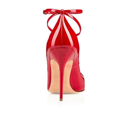 EDEFS Femmes Escarpins Talon Haut Bride Cheville Chaussures High Heel Bout Ouvert Rouge