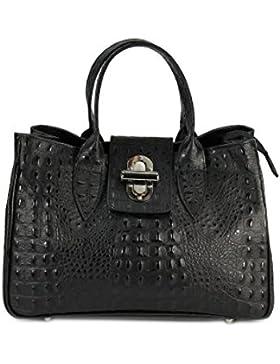 BELLI ital. Echt Leder Handtasche Henkeltasche schwarz matt Kroko Prägung - 36x25x18 cm (B x H x T)