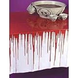 Blutige Tischdecke Halloween Party Tablewear Gruseldeko Schocker 2,7 x 1,3 Meter PVC wiederverwendbar Horror Splatter Spaß mit Blutspritzern
