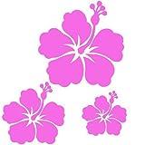 kdosublim Stickers Autocollants 3 Fleur d'hibiscus Couleur aux Choix,Voiture,frigo,Mur,Porte etc. (Rose Clair)