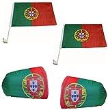 Sonia Originelli Auto Fanpaket Fahne Bikini Öhrchen Car Flaggen WM EM Farbe Portugal