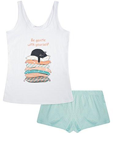 oodji Ultra Damen Pyjama Set aus Bedruckten Shorts und Trägertop Weiß (1073P)