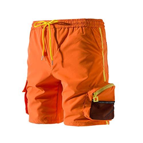 Cargo Shorts Herren Chino Kurze Hose Sommer Bermuda Sport Jogging Training Stretch Shorts Fitness Vintage Regular Fit Sweatpants Baumwolle Qmber Beiläufige lose Normallackknopftasche groß(Orange,5XL) -