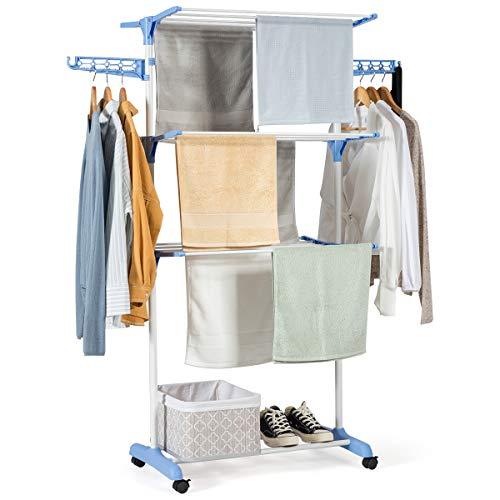 COSTWAY Wäscheständer faltbar, Wäschetrockner rollbar, Standtrockner, Kleiderständer mit Faltregalen, Schuhablage, schwenkbaren Haken (Blau)