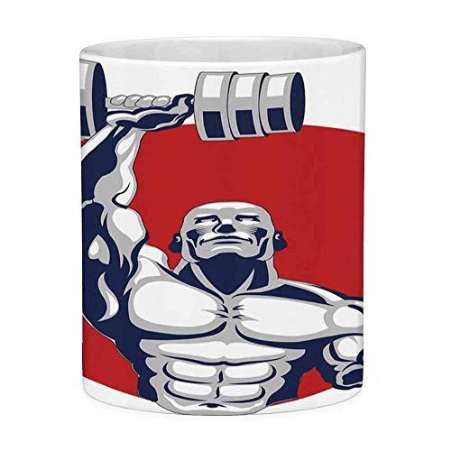 Lead Free Ceramic Coffee Mug Tea Cup White Fitness 11 Ounces Funny Coffee Mug Muscular Man Lifting Barbells Body Builder Icon Strength Work Out Powerful Silver Red White -